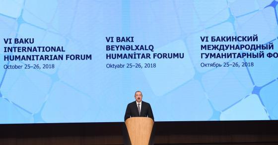 speech by ilham aliyev at the opening of the 6th baku international humanitarian forum